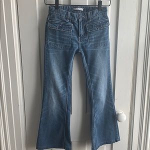 Free People Flat Front Flap Pocket Flared Jeans
